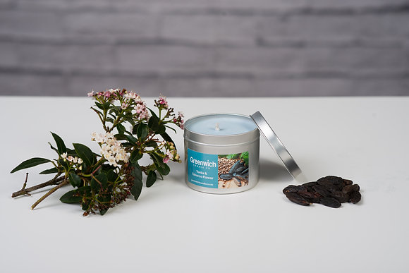 Tonka and Tobacco Flower Candle in Silver Tin 225ml