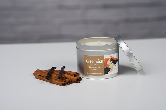 Cinnamon Vanilla Candle in Silver Tin 225ml