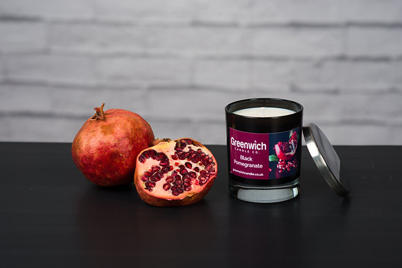 Black Pomegranate Candle in Black Gloss Glass 300ml