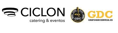 combinación logos Ciclón catering y GDC.