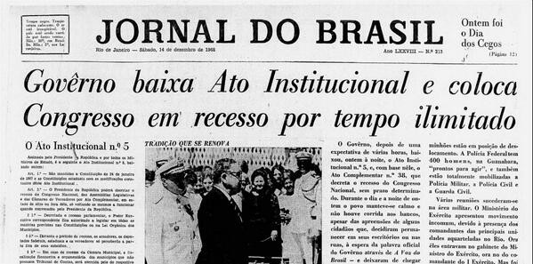 Capa do Jornal do Brasil 14/12/1968