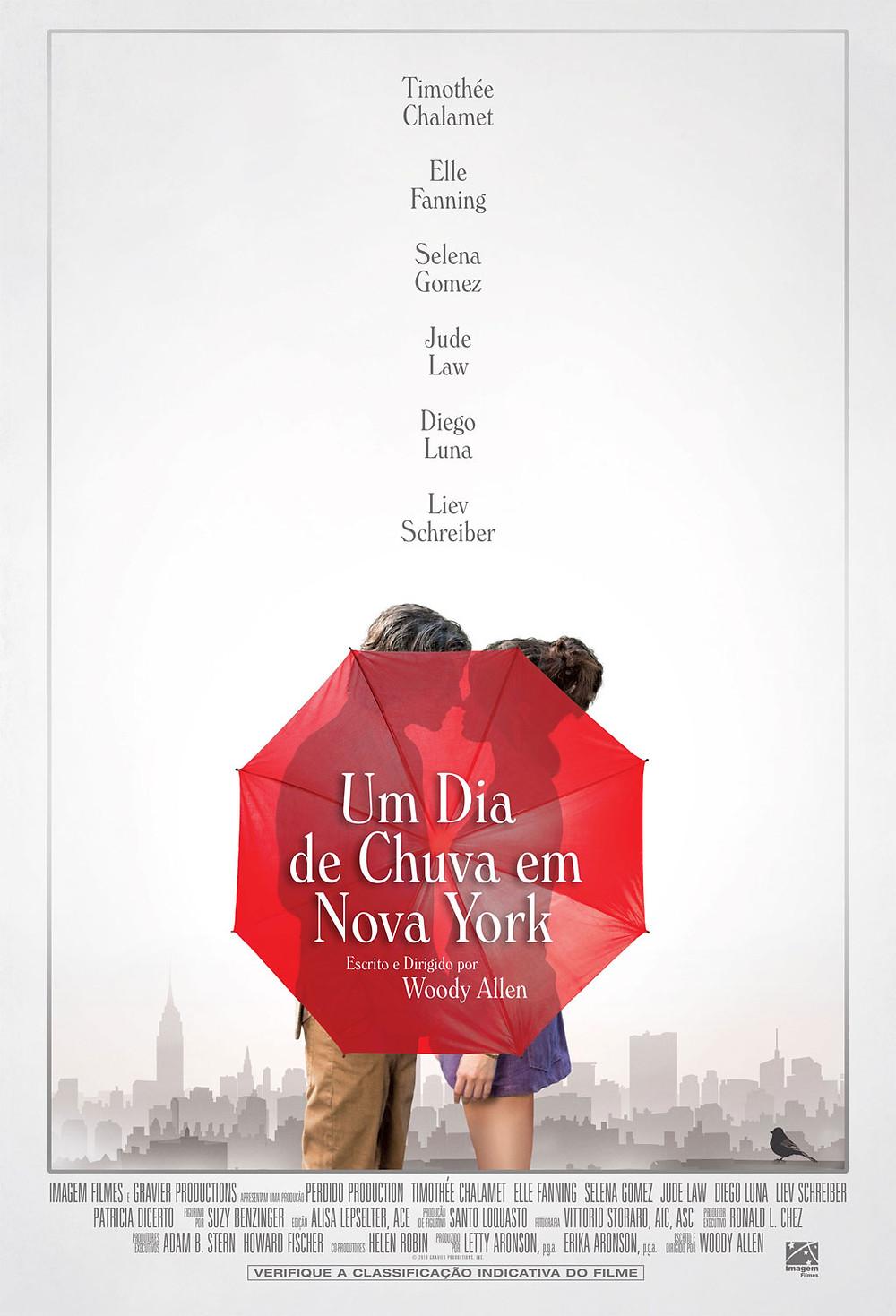 """Pôster de """"Um dia de Chuva em Nova York"""""""