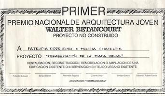 Premio nacional arquitectura joven. Walter Betancourt. 1989