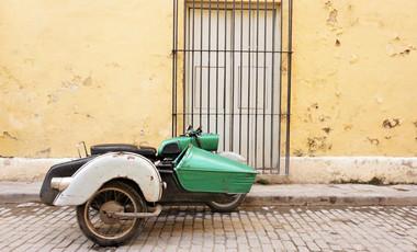 Motorbike with sidecar, Havana, Cuba
