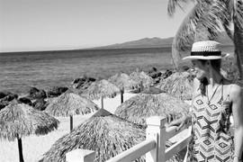 Beach view with parasols, Trinidad, Cuba