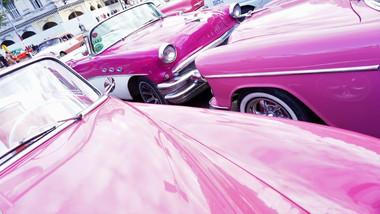 Pink Vintage Cars, Havana, Cuba