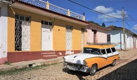 Cuban vintage yellow car, Trinidad, Cuba