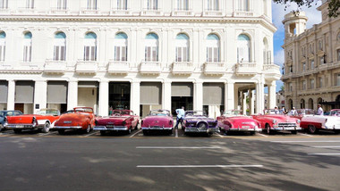 Row of classic cars, Havana, Cuba