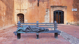 "Sculpture ""Homeless Jesus"" Convent and Church of the Dominicos fathers Dominican Republic."