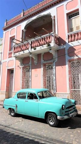 Cuban vintage turquoise car & house, Trinidad, Cuba