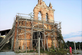Restoration of the old church on the hill by the Iberostar Grand Hotel, Trinidad, Cuba