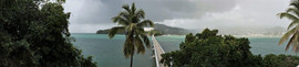 Stormy caribbean Sea Samana Bridge Domincan Republic