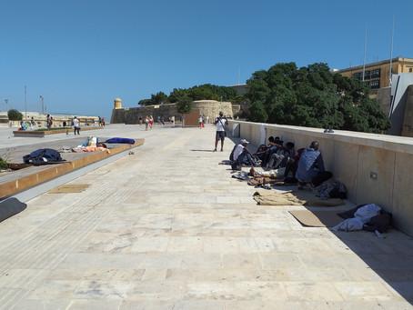 Migrants' beds in open air in Valletta
