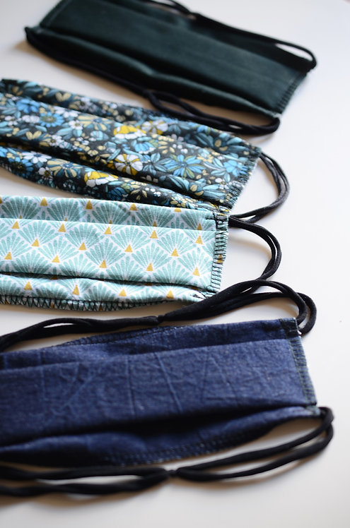 2 Masques Alternatifs en Tissu Coton & Elastiques Upcycling
