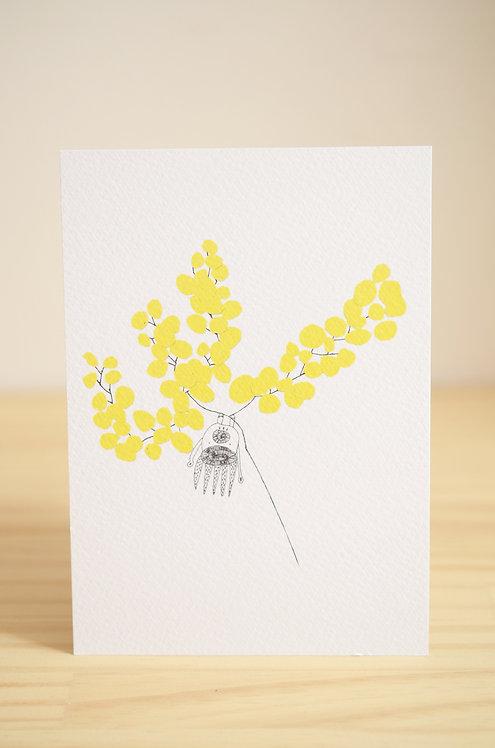Carte Postale_Mimosa & Créature Imaginaire Tête en bas
