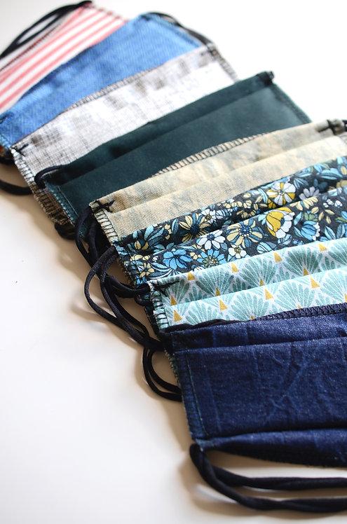 1 Masque Alternatif en Tissu Coton & Elastiques Upcycling