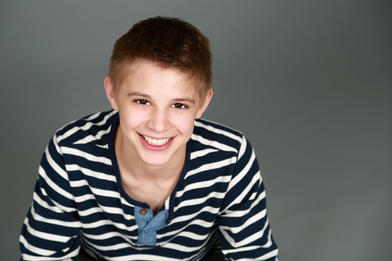 Portrait of boy in striped shirt