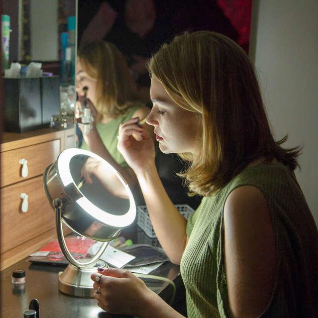 Model at Makeup Station