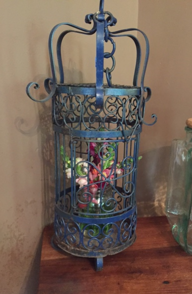 Item: Vintage blue birdhouse