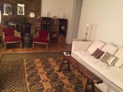 Item: Afghan rug, parlor chairs
