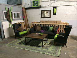 Item: Chairs, table, rug, decor
