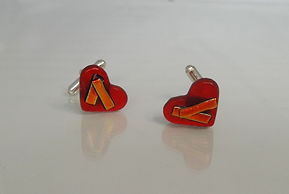 Red fused glass cufflinks heart-shaped Made by Artisan Design UK