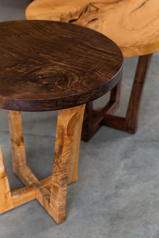 Big Leaf Maple Live Edge Round End Table Side Table Walnut Base Handmade Saw Live Edge