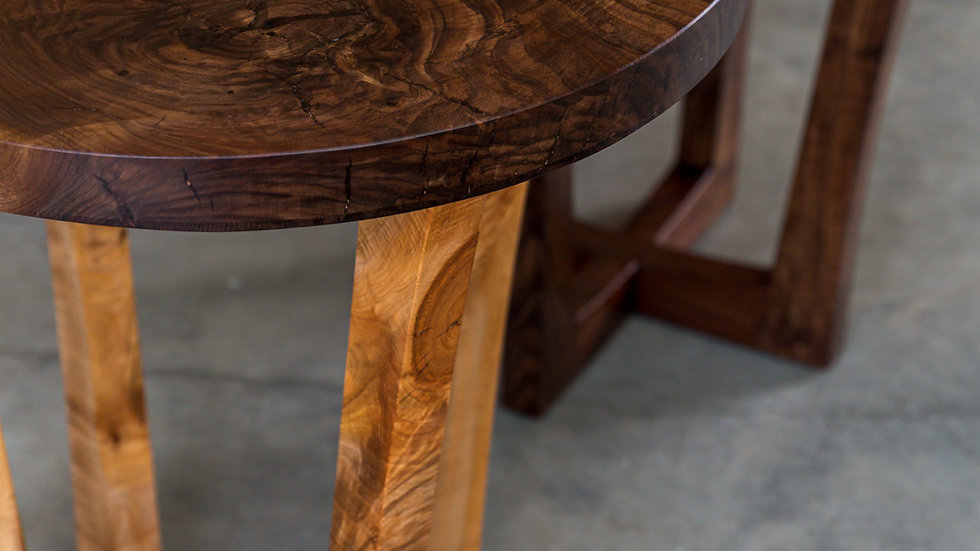 Big Leaf Maple Live Edge Round End Table | Side Table | Walnut Base | Handmade