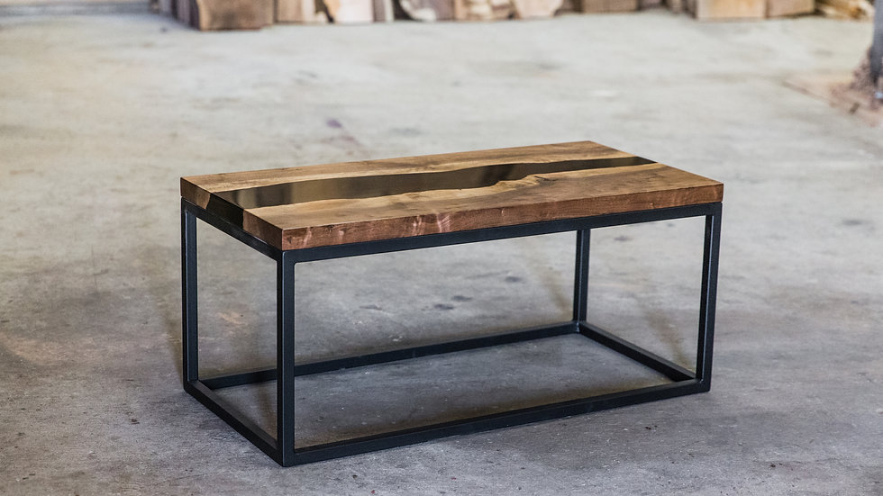 Live Edge Black Walnut Resin Coffee Table | Black River | Steel Base |