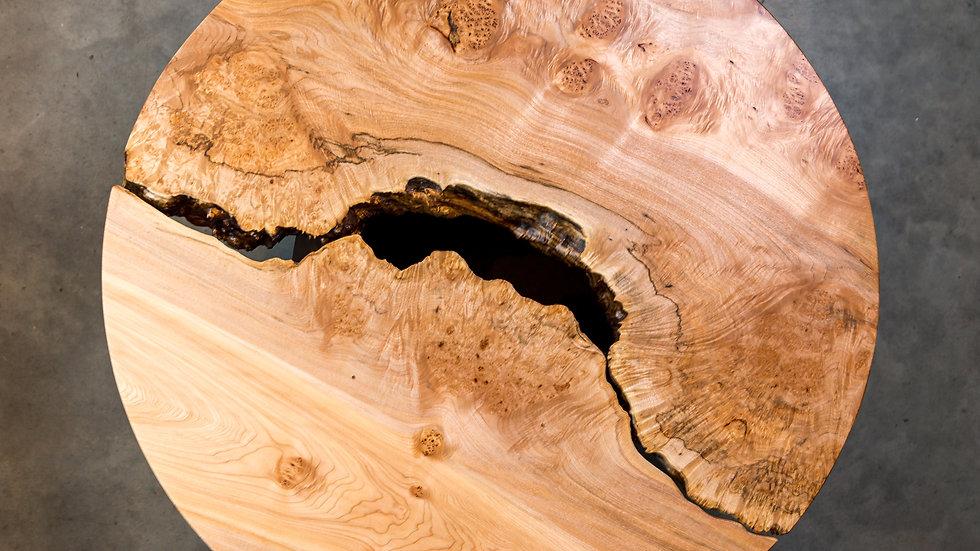 Maple Live Edge Round Coffee Table | Taijitu | Oregon Walnut Circle Base | Handm