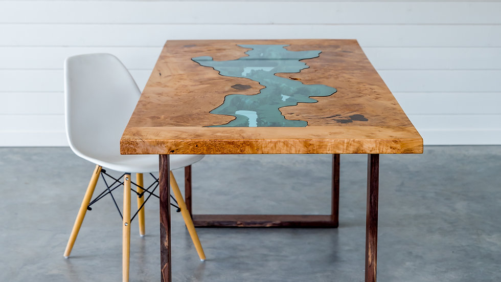 Big Leaf Maple Dining Table | River Series | Breadboard Ends | Walnut Base