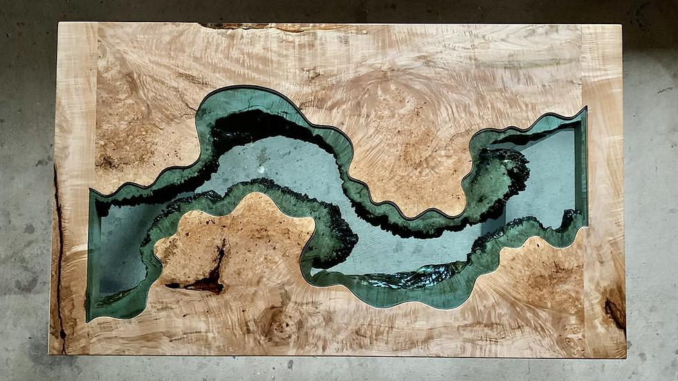 Big Leaf Maple River Table | River Desk | Standing Base | Handmade Live Edge Tab