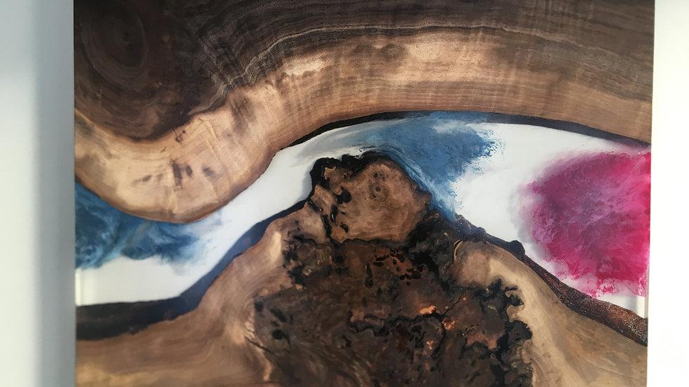 Resin River Art | Live Edge Oregon Black Walnut | Wall Hanging
