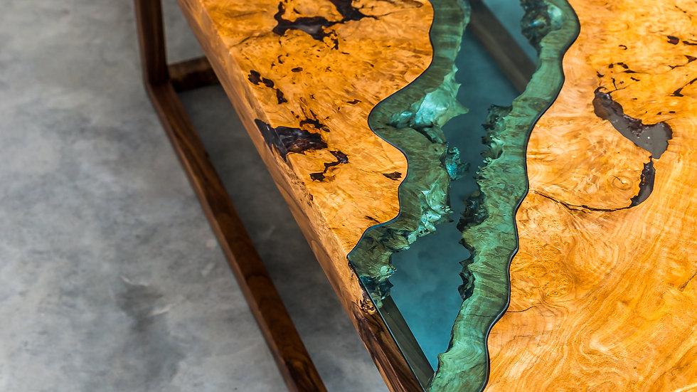 Burly Maple River Coffee Table | Lake Series | Black Walnut Base |