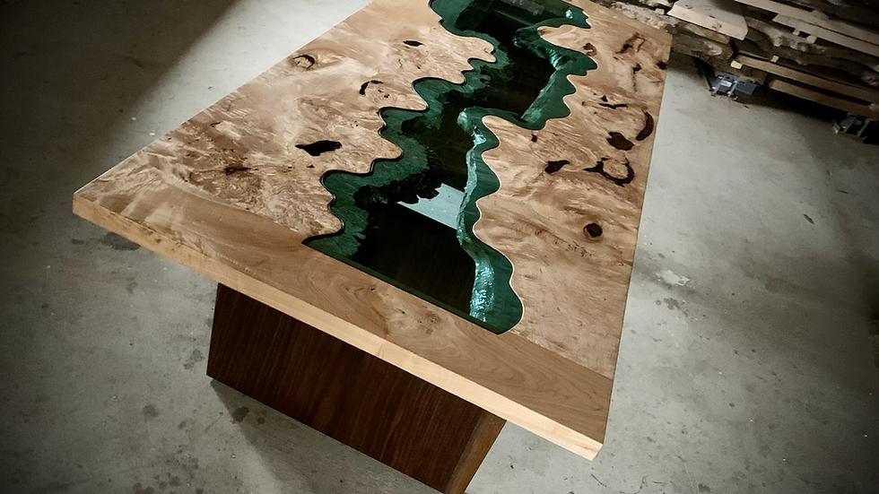 Big Leaf Maple Dining Table   Desk   Breadboard Ends   Walnut Base