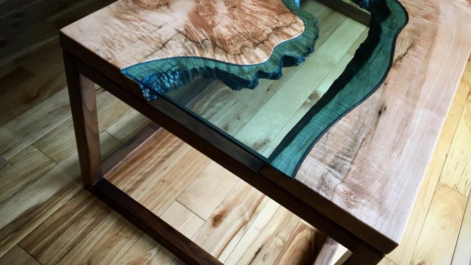 Curly Maple Coffee Table | River Series | Black Walnut Base |