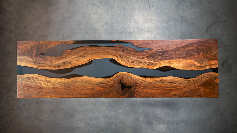 Bastogne Walnut Live Edge Resin Console Table | Resin Desk | Modern Square Steel