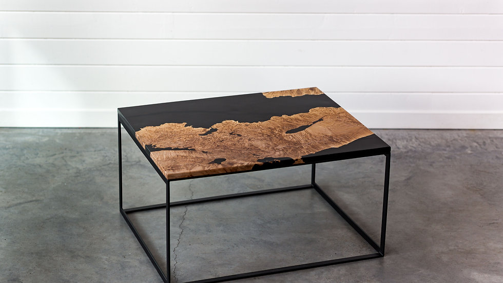 Maple Burl Live Edge Resin Coffee Table | Steel Base | Modern