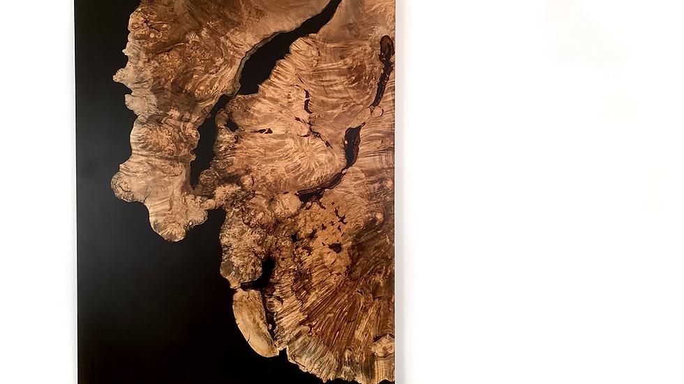Big Leaf Maple Resin River Art | Live Edge | Black Epoxy Art | Wall Art | Wood |