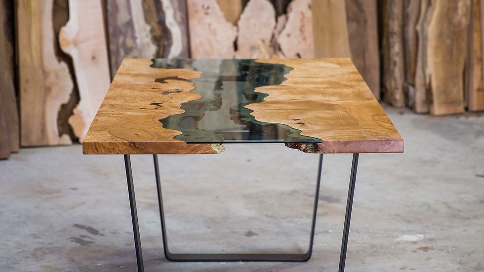 Big Leaf Maple Dining Table | River Series | Steel Trapezoid Base |