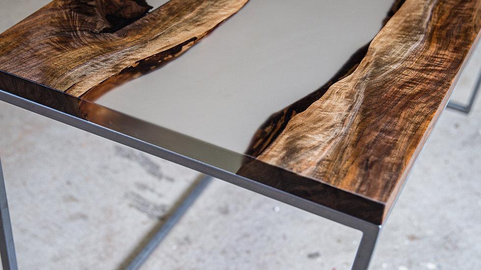 Bastogne Walnut Live Edge Resin Desk | Modern Square Steel Base | Clear Resin |