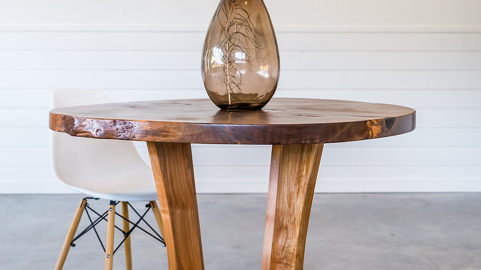 Live Edge Black Walnut Round Dining Table | Eclipse Series | Arbutus Base|