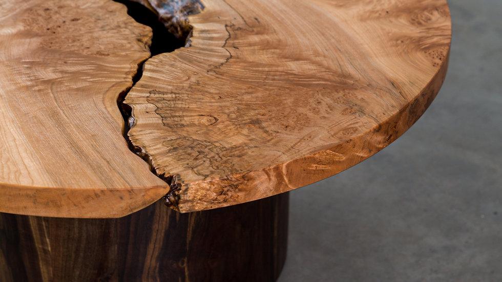 Maple Live Edge Round Coffee Table | Taijitu | Oregon Walnut Circle Base |