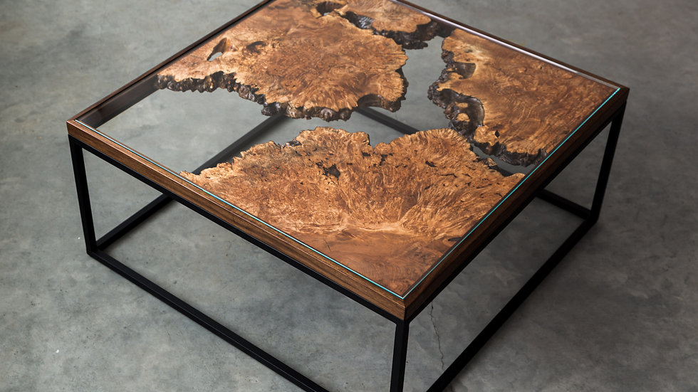 Figured Maple Live Edge Coffee Table | The Divide Series | Tempered Glass