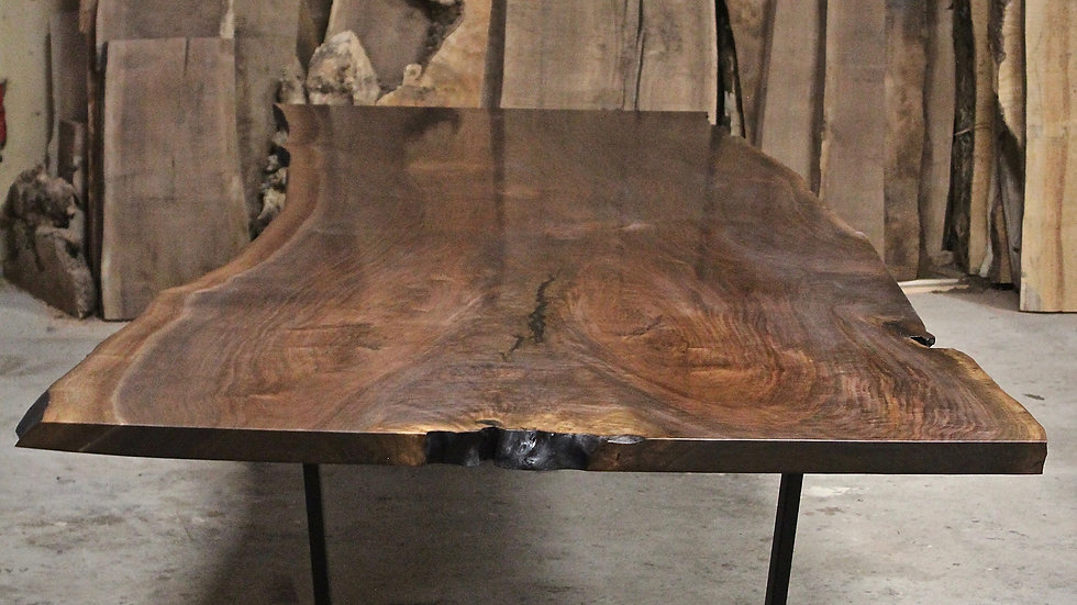 Live Edge Claro Walnut Dining Table | Conference Table | Steel Base |
