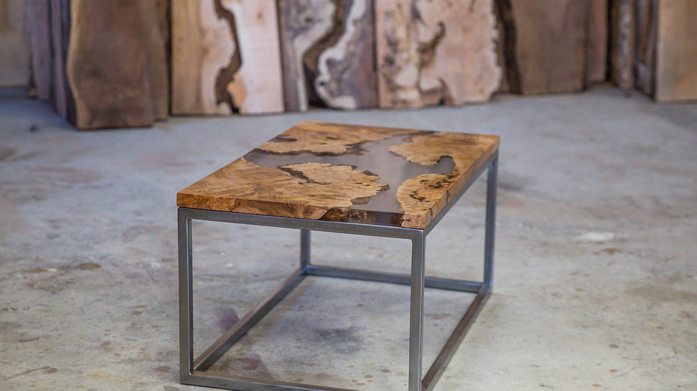 Live Edge Maple Resin Coffee Table | Clear River | Steel Base |