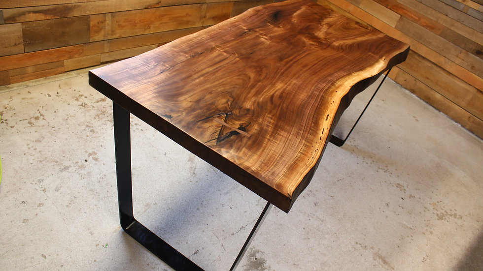 Live Edge Black Walnut Dining Table | Steel Trapezoid Base |