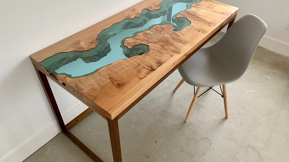Big Leaf Maple Desk | River Series | Walnut Base |