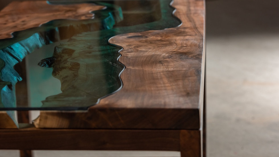 Black Walnut Coffee Table | River Series | Black Walnut Base |