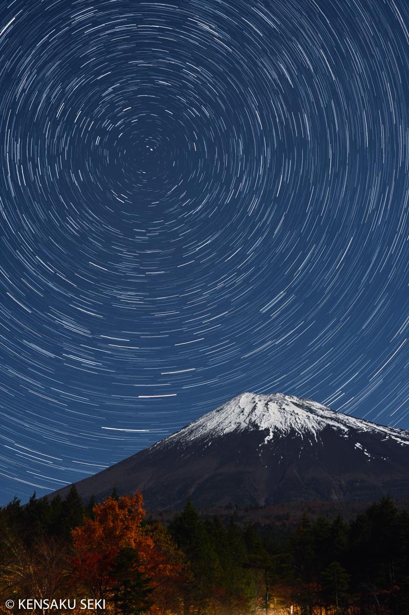 紅葉+富士山+星空@富士山西臼塚駐車場